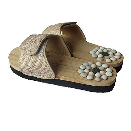MU Tragbare natürliche Kiesel Massage Hausschuhe Fuß Akupunkturpunkte Gesundheitsschuhe Fußmassage zu Hause Sandalen,Beige,45