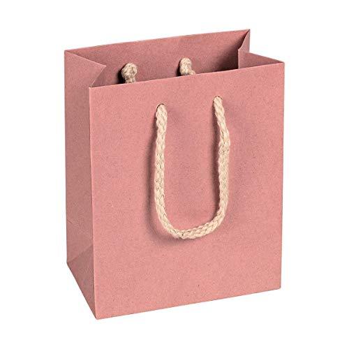 Papiertragetasche Rosa, 12 x 15 x 7 cm, mit Baumwollhenkel Papiertasche, Geschenktüte Kraftpapier - 12 Stück/Pack