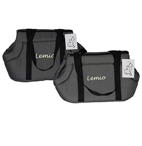 Lemio - Transporttasche/Tragetasche Tasco Katze Hund Kleintier (XL 53x31x31x15, grau)