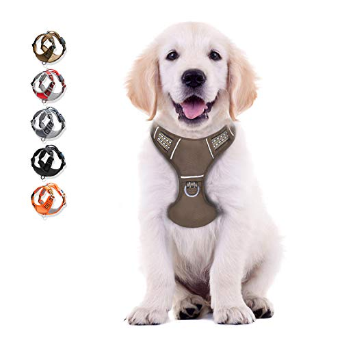 WALKTOFINE Dog Harness No Pull Reflective, Comfortable Harness with Handle,Fully Adjustable Pet Leash Vest for Small Medium Large Dog Breed Car Seat Harness Army Yellow S