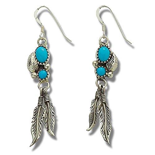 Indianerschmuck Ohrringe Türkis mit Silberfedern