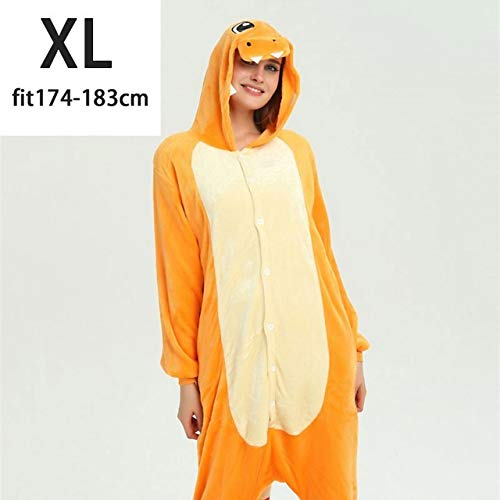 Pijama Unicornio Charizard Kigurumi la Historieta del Animado Onesie Kid de Familia for Adultos Divertido Pijama de Halloween Inicio En General Invierno Mono (Color : Yellow, Size : XL)