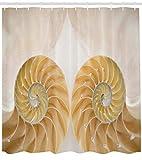 /N Cortina de Ducha de Conchas Marinas, Primer Plano de adentro hacia afuera, Dos Lados de la Concha Marina, visión simétrica espejada geométrica, Tela de Tela para decoración de baño,con