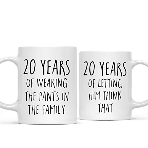 Andaz Press Funny 20th Wedding Anniversary 11oz. Couples Coffee Mug Gag Gift, 20 Years of Wearing the Pants in the Family, Letting Him Think That, 2-Pack with Gift Box for Husband Wife Parents