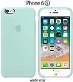 Funda Silicona para iPhone 6 y 6s Silicone Case, Textura Suave, Forro Interno Microfibra (Verde-mar)
