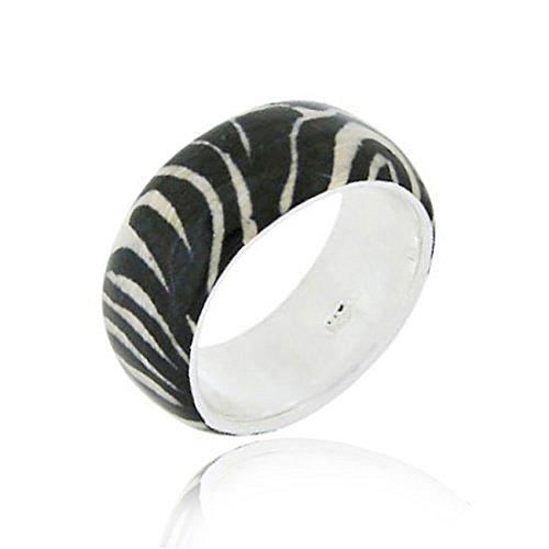 Royal Design Eleganter Zebra Ring mit weißer und schwarzer Emaille, Sterling Silber