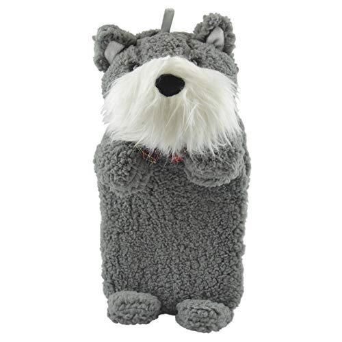 Wärmflasche Tier Babywärmflasche mit Bezug Wärmflaschenbezug Flauschig Hund Einhorn Fashy Bettflasche 750 ml (GrauHund)