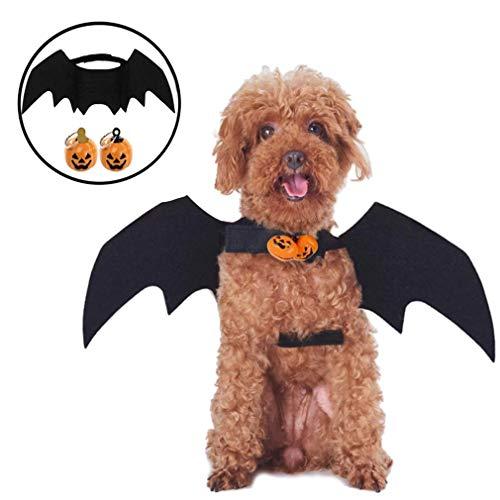 JIASHA Halloween Disfraz De ala De Murciélago Disfraz De Gato con Campana De Calabaza, Traje De Cosplay De Perro Mascota ala De Murciélago para Carnaval, Halloween Y Cumpleaños