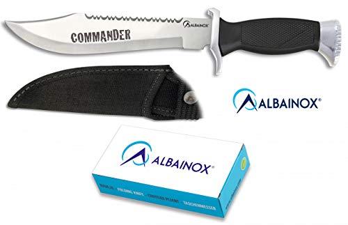 Albainox 31773 Cuchillo ALBAINOX Supervivencia.C/Funda.19.5cm Herramienta para Caza, Pesca, Camping, Outdoor, Supervivencia y Bushcraft + Portabotellas de regalo