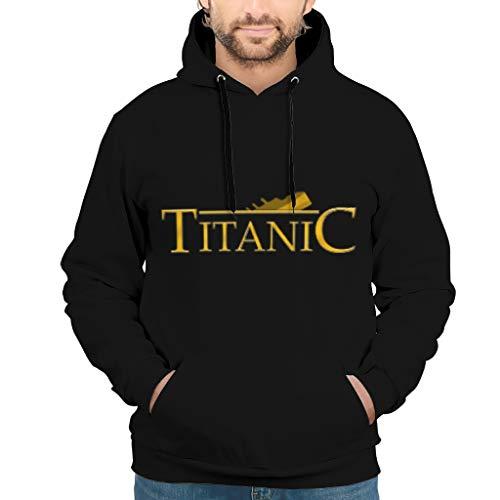 Ti-tanic Print Vintage Stil Mehrere Muster Pullover Hoodie Sweatshirt mit Fronttasche Jungen und Mädchen Gr. S, weiß
