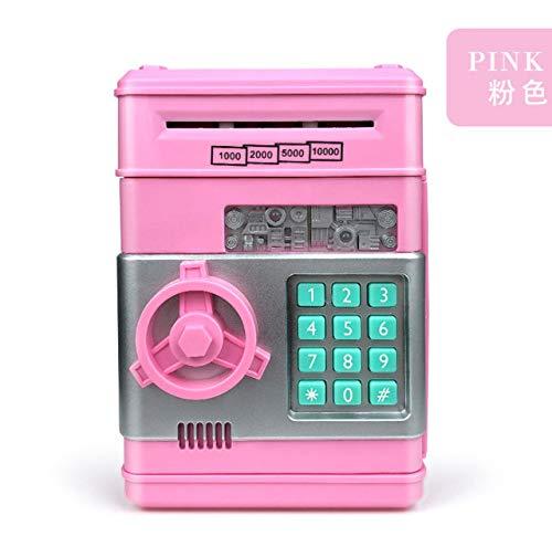 RTYUI Anpro Elektronisch Wachtwoord Spaarpot ATM Spaarpot Cash Munt Automatische Storting Bankbiljet Geldbesparende Machine ATM Bank Kluis 13,5 * 12 * 19,5 cm/Roze