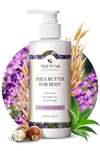 Moisturizing Body Lotion for Dry Skin by Tree To Tub - pH 5.5 Balanced Sensitive Skin Lavender Lotion for Men & Women, Light, Quick Absorb, with Organic Shea Butter, Cocoa Butter 8.5 oz