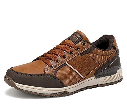 AX BOXING Zapatillas Hombres Deporte Running Sneakers Zapatos para Correr Gimnasio Deportivas Padel Transpirables Casual 40-46 (43 EU, marrón Claro)