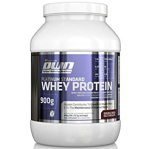 OWN - Platinum Standard Whey Protein Molkenprotein-Ergänzungspräparat zum Muskelaufbau mit Glutamin und Aminosäuren, Schokoladengeschmack, 900g