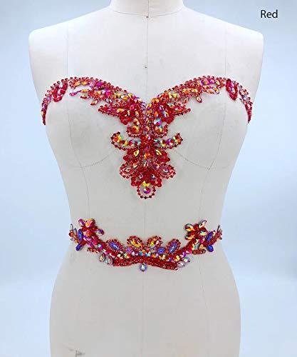 Apliques de diamantes de imitación con ribete de cristal 3D parches de encaje ideal para bricolaje escote corpiño cinturón boda nupcial vestido de fiesta A3 (rojo)