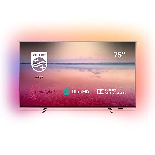 Philips 75PUS6754/12 75-Inch 4K UHD Smart TV with Ambilight, HDR 10+, Dolby Vision, Dolby Atmos - Mid silver (2019/2020 Model)