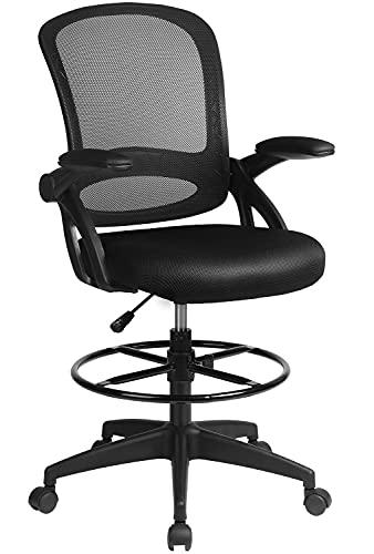 ComhomaDraftingChairTallOfficeChairwithFlip-up Armrests for Computer Standing Desk AdjustableFootRingErgonomic MeshBackTableChairBlack