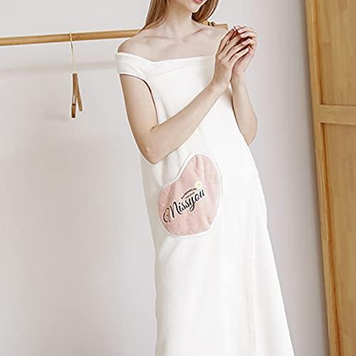 IAMZHL Toalla de baño usable Toallas de Fibra extrafina Toalla Elegante Suave y Absorbente para otoño Hotel Hogar Baño Regalos Mujeres Albornoz-White-3-S