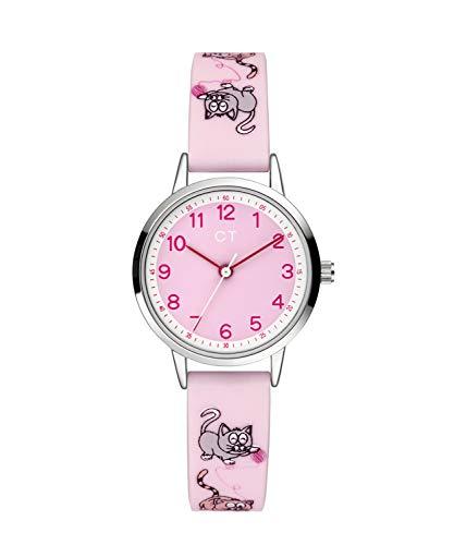Cool Time Mädchen Kinder Armbanduhr (rosa Katze)