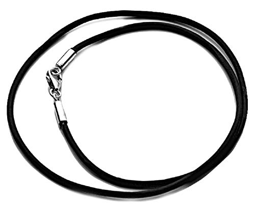 Parnika 2mm Diameter 18 Inches Length Black Cotton Cord Necklace With Silver Lock in Pure 92.5 Sterling Silver for Kids, Girls & Boys