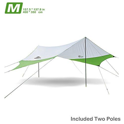 Topnaca Naturehike Lightweight Camping Tarp Shelter Beach Tent Sun Shade Awning Canopy with Tarp Poles, Portable Waterproof Sun-Proof 204.7x181/157.5x137.8 for Hiking Fishing Picnic (Green&Grey-M)