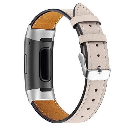 Aottom Compatible con Correa Fitbit Charge 4/Fitbit Charge 3 Correa Cuero, Correa Fitbit Smartwatch Ajustable Correas de Recambio Pulseras Pulsera Banda de Actividad Física con Conectores de Metal