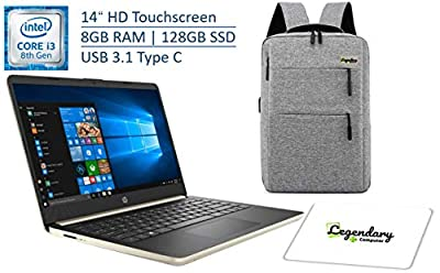 2020 HP 14 Inch HD Touchscreen Premium Laptop PC, Intel Core i3-8145U (Beat i5-7200U), 8GB RAM, 128GB SSD, USB 3.1 Type C, Gold, W/ Legendary Computer Backpack & Mouse Pad Bundle