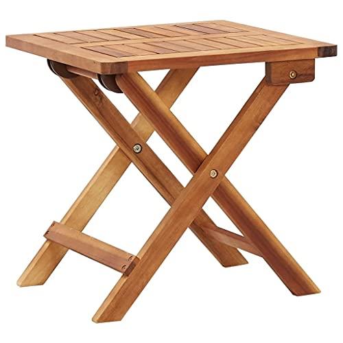 vidaXL Bois d'Acacia Massif Table Pliable de Jardin Table d'Appoint Table à Thé Table Basse Terrasse Patio Extérieur Arrière-Cour 40x40x40 cm