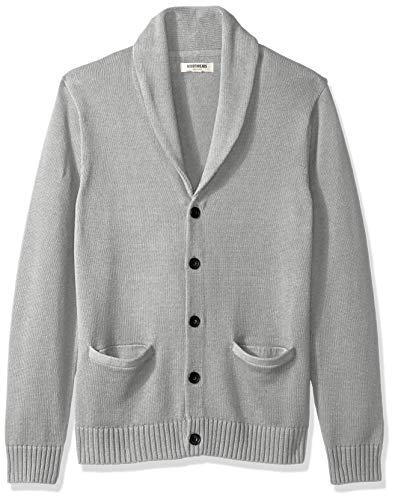 Amazon Brand - Goodthreads Men's Soft Cotton Shawl Cardigan, Heather Grey, Medium