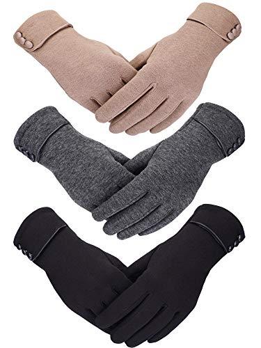 Patelai 3 Pairs Women Winter Gloves Warm Touchscreen Gloves Windproof Gloves for Women Girls Winter Using (Black, Gray, Khaki)