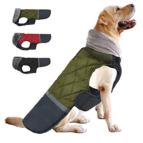 Etechydra Cappotto per Cani Impermeabile, Invernali Caldo Vestiti per Cani Riflettente Giacche Gilet Giacca per Cani di Taglia Piccola di Media Grandi Taglia, XL