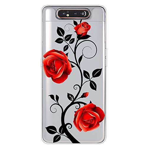 Urhause Kompatibel mit Galaxy A80/A90 Hülle TPU Silikon Bunt Schutzhülle,[Transparen Karikatur Silikonhülle] Hülle Gemalt,Ultra Slim Durchsichtig mit Muster Bumper Stoßfest Hülle,Rote Rose