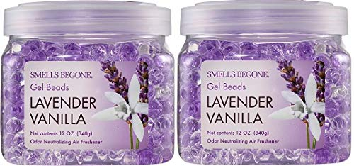 SMELLS BEGONE Odor Eliminator Gel Beads - Eliminates Odor in Bathrooms, Cars, Boats, RVs and Pet Areas - Air Freshener Made with Natural Essential Oils (12 OZ) (2, Lavender Vanilla 2 Pack)