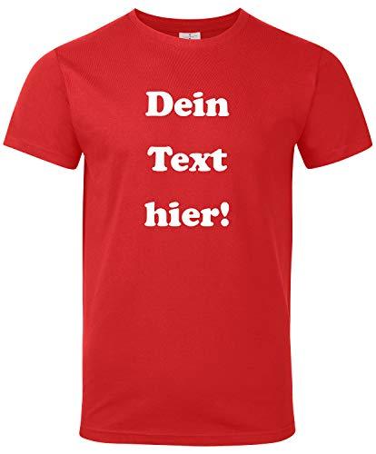 Herren T-Shirt Bedrucken mit dem Amazon Tshirt Designer. T-Shirt selber gestalten. T-Shirt Druck. T-Shirt mit Wunschtext. T Shirts sind Ökotex-100 Zertifiziert. - Rot M