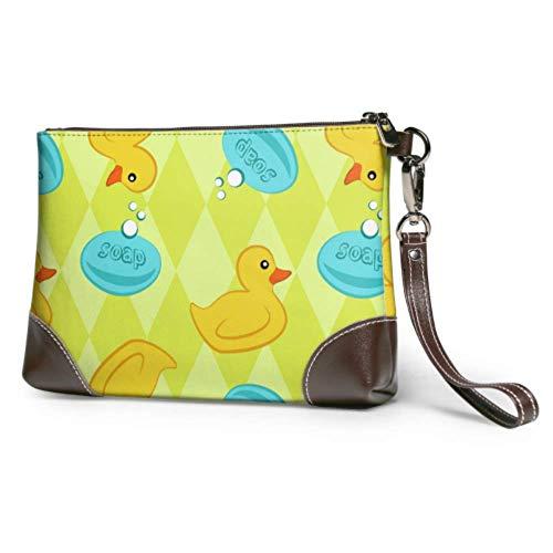 XCNGG Weiche wasserdichte Mädchen Clutch Bag Ente Spielzeug Schwimmen auf dem Wasser Leder Tasche Clutch mit Reißverschluss für Frauen Mädchen