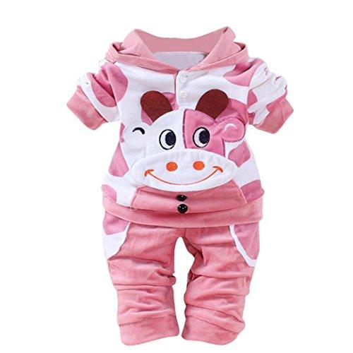 QinMM Baby Kleider 0-24 Monat, Neugeborene Baby Mädchen Jungen Cartoon Kuh Arm Outfits SAMT Kapuzenoberteile Set (6-12M, Rosa)