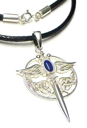 Colgante de plata de ley 925 con diseño de espada del arcángel Miguel, con piedra de lapislázu, regalo de joyería, símbolo de protección