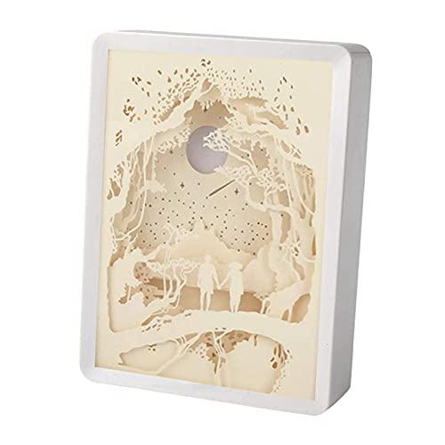 Baoblaze Luz de La Lámpara de Las Esculturas de Papel de La Luz de La Noche de La Talla Del Papel 3D para El Dormitorio de Los Niños