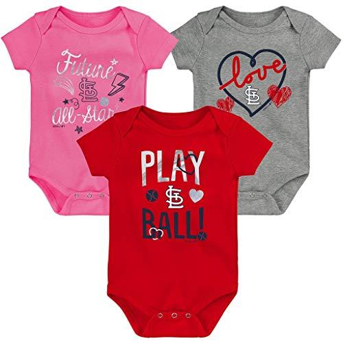 Outerstuff MLB Newborn Infants Girls Runtastic Three Pack Bodysuit Creeper Set (St Louis Cardinals, 24 Months)