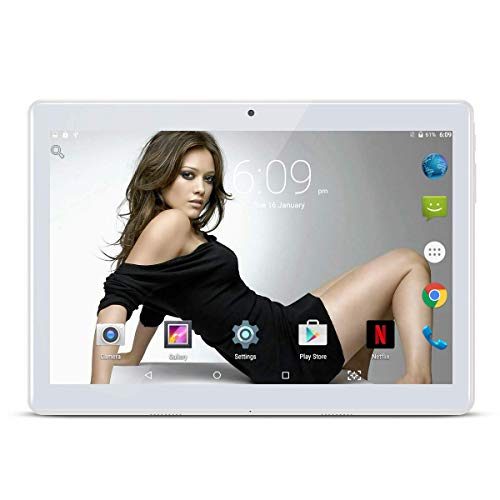 "10.1"" pollici Tablet Android 9.0 Phablet Octa Core 4 GB RAM 64 GB ROM 3G Phablet con WiFi GPS Bluetooth Netflix Google Play (Argento)"