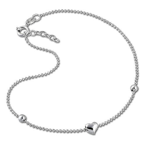 SilberDream Fußkette silber für Damen 925 Silberschmuck Herzchen 25cm SDF2045