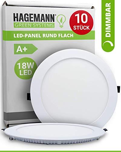 HAGEMANN® 10 x LED Panel rund dimmbar 18 Watt 1620lm – Ø 205mm Bohrloch – flach 230V Deckenleute Einbauleuchte