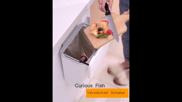 41TPLjtKyfL Curious Fish Wandküchenschrank Tür Hängende Tür Kunststoff-Mülleimer mit Deckel Schiebeabdeckung unter Waschbecken…