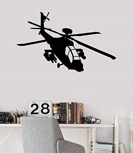 Adhesivo de pared de vinilo helicóptero militar | adecuado para decoración de pared de sala de juegos de dormitorio de bebé
