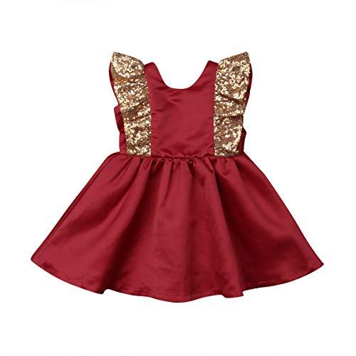 Vestido de fiesta con lentejuelas para nias, vestido de tut, vestido de princesa con lazo, elegante, vestido formal para nios sin mangas para 0 a 5 aos (amarillo rojo, 4 a 5 aos)