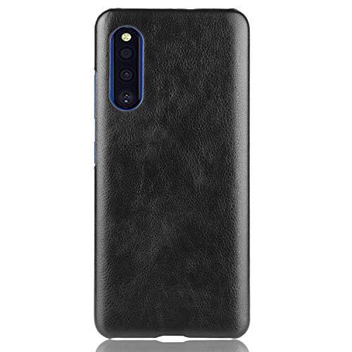 Samsung Galaxy A41 SC-41A ハードケース カバーPU レザー調 ギャラクシー A41 シンプル ハードケース アンドロイド おしゃれ スマートフォン/スマフォ/スマホケース/カバー(ブラック)
