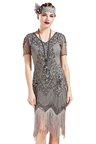 ArtiDeco - Vestido de mujer estilo años 20 con mangas cortas, disfraz de Gatsby para fiestas temáticas gris plateado M-36/38/40