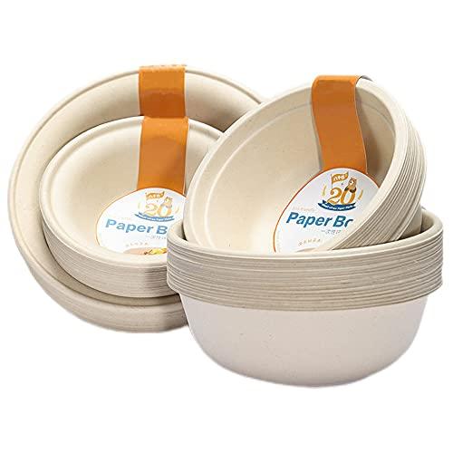 Qlisytpps Disposable Bowls 100% Biodegradable 17 oz.[20 Pack] Paper Bowls Substitute Large Eco Friendly Bowl wheat Bowl Microwave Safe Bowl Versatile Biodegradable Microwavable Paper Bowls