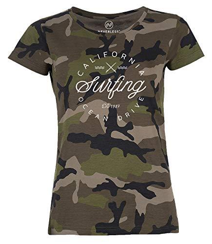 Neverless® Damen Camo-Shirt California Surfing Ocean Drive Summer Camouflage T-Shirt Tarnmuster schwarz M