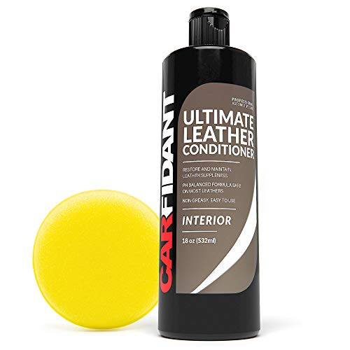 Carfidant Ultimate Leather Conditioner & Restorer - Full Leather Restoration & Conditioning Kit with Applicator Pad for Leather Automotive Interiors, Car Dashboards, Sofas & Purses!- 18oz Kit